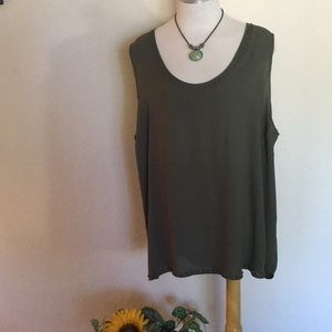 a.n.a. Olive Short Sleeve Blouse w/Stud Accent 3X